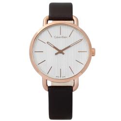 CK EVEN 沉靜雅緻岩紋皮革手錶-銀白x玫瑰金框x深褐/36mm