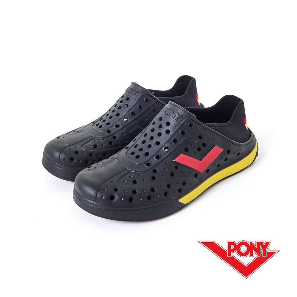 PONY ENJOY系列-輕量透氣洞洞鞋-中性-黑紅德國