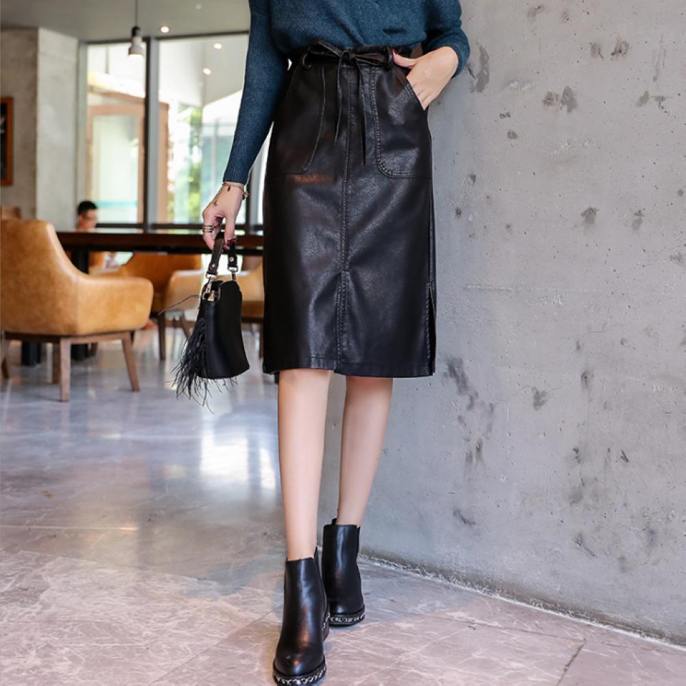 黑色高腰開叉中長款及膝皮裙M~XL-REKO