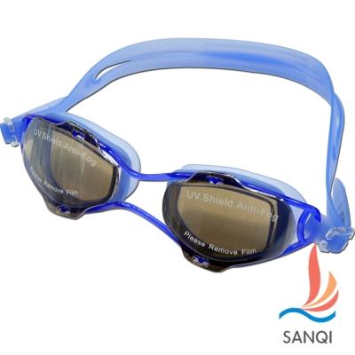 SANQI三奇 夏日必備抗UV防霧休閒泳鏡(2918M-藍F)