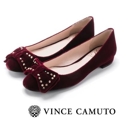 Vince Camuto 麂皮鉚釘甜美搖滾平底鞋-絨酒紅