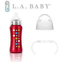 美國L.A. BABY 學習杯套組-超輕量不鏽鋼保溫奶瓶 玫瑰紅+Tritan學習握把