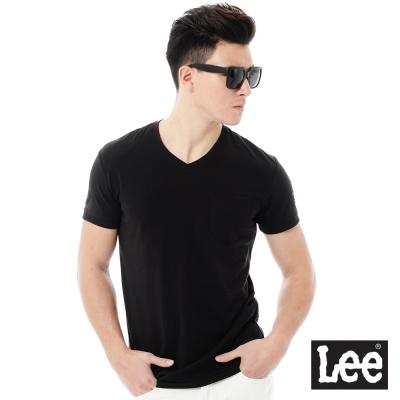 Lee  Regional素色V領短袖T恤-男款-黑色