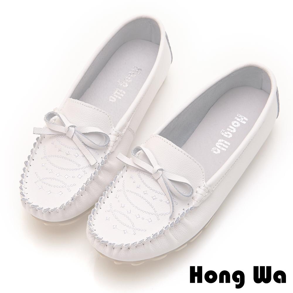 Hong Wa 經典蝴蝶結飾扣牛皮休閒鞋 - 白