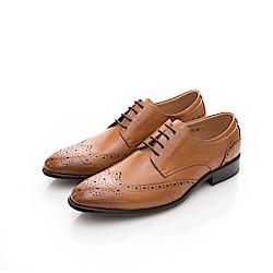 ALLEGREZZA-真皮男鞋-時尚加分-藝紋雕花尖頭皮鞋  焦糖色