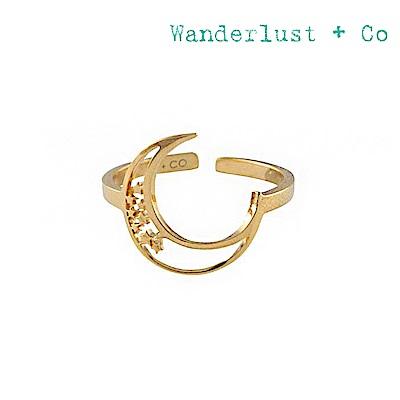 Wanderlust+Co 澳洲時尚品牌 新月星星戒指 金色