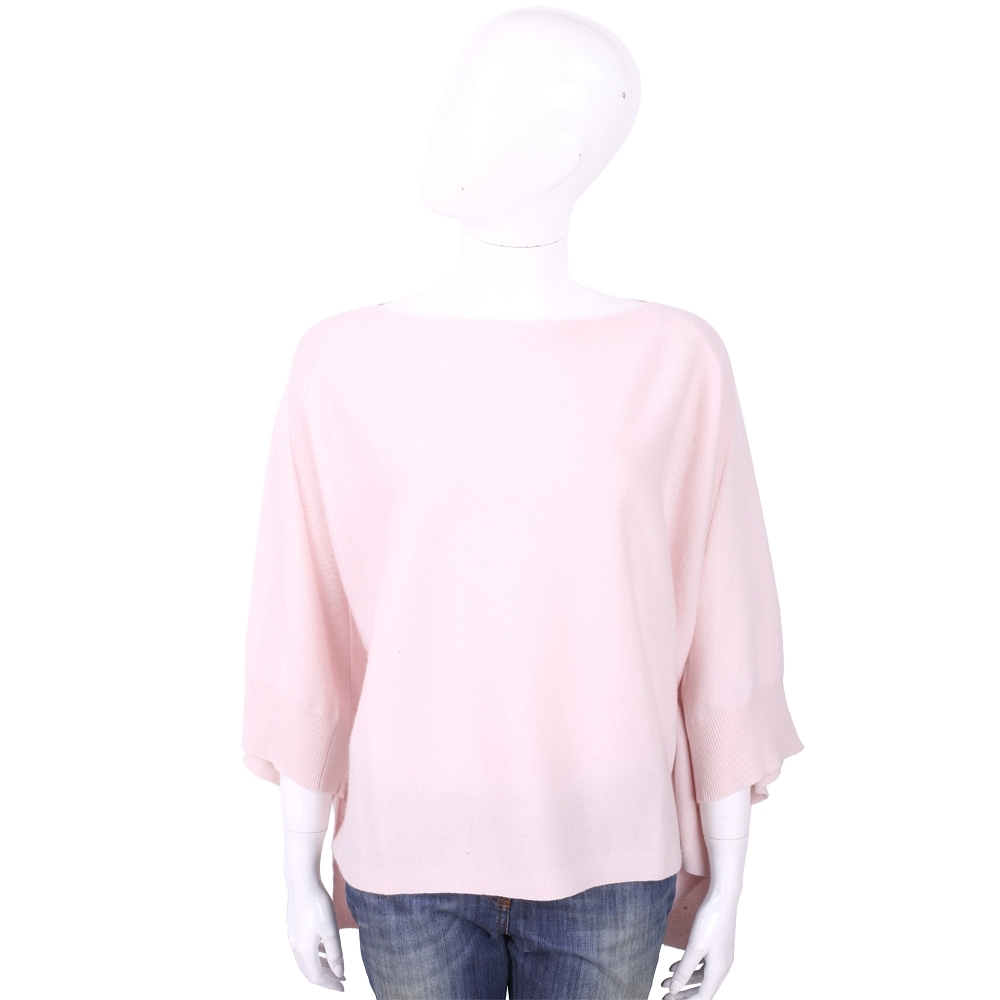 ALLUDE 喀什米爾淺粉色斗篷式針織羊毛衣