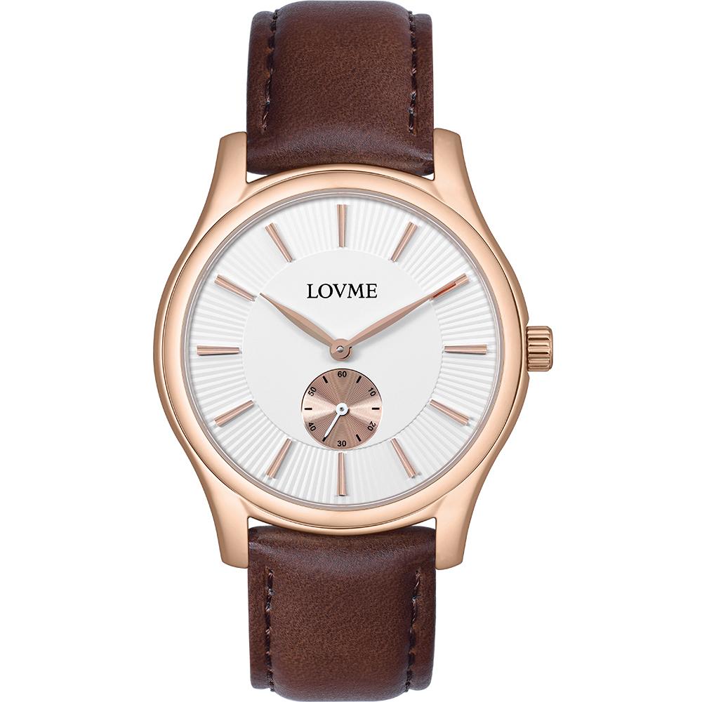 LOVME 質感魅力時尚手錶-IP玫x白/41mm