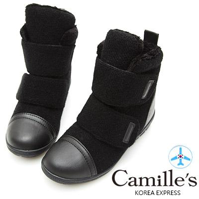 Camille's 韓國空運-正韓製-拳擊風毛呢拼接魔鬼氈短靴-黑色