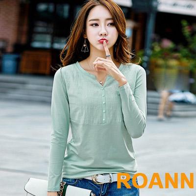 純色V領菱形裝飾長袖T恤 (共三色)-ROANN
