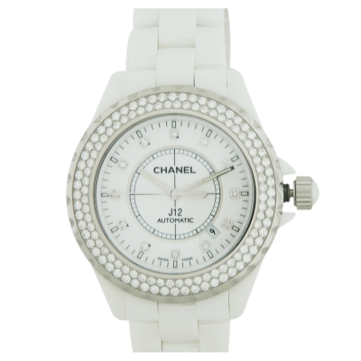 CHANEL J12 H2013 陶瓷寶石鑽錶-白/42mm