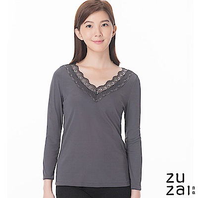zuzai 自在發熱衣歸真系列女LACE長袖保暖衣-灰色