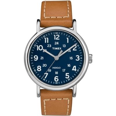 TIMEX天美時Weekender週末系列復刻手錶-藍x棕色40mm