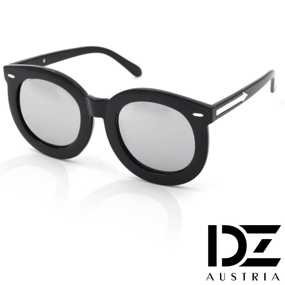 DZ 圓型粗框白箭矢 抗UV造型太陽眼鏡墨鏡(水銀膜)