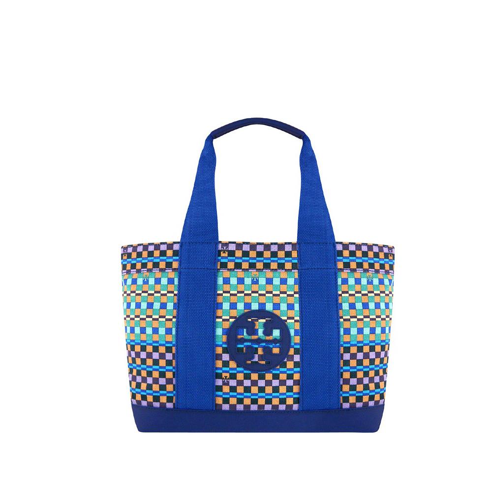 TORY BURCH 藍色格紋厚織帆布托特包【大型】