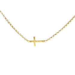 Dogeared Whispers 橫式小十字架16吋金色許願項鍊