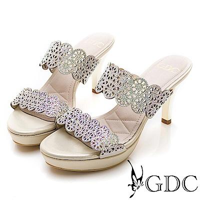 GDC-羊皮雕花簍空亮面一字細跟拖鞋-金色