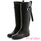 D+AF 時尚風潮‧名品質感金釦皮飾長筒雨靴*黑
