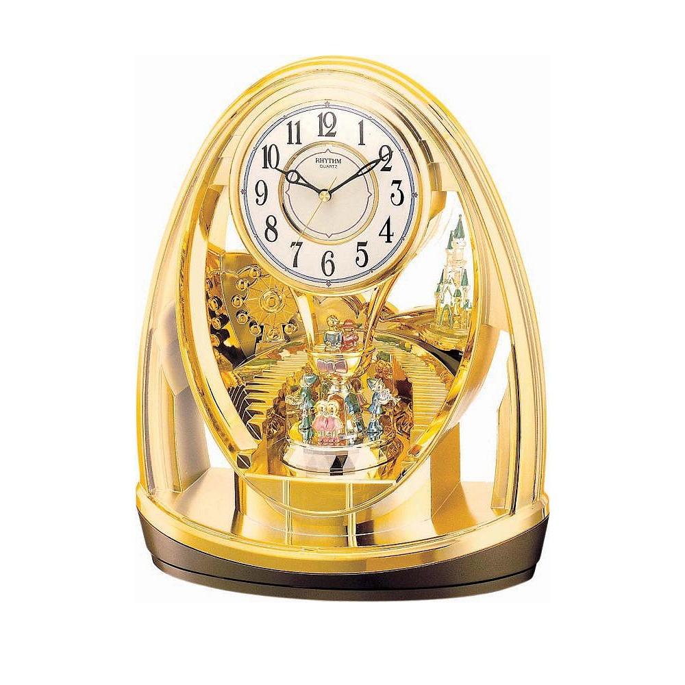 RHYTHM 日本麗聲 城堡摩天輪 座鐘 桌鐘 -金/26x31cm