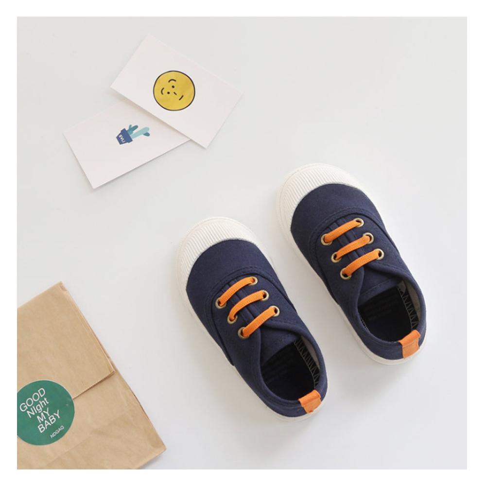 玩弄色彩搭配款四季兒童帆布鞋-深藍