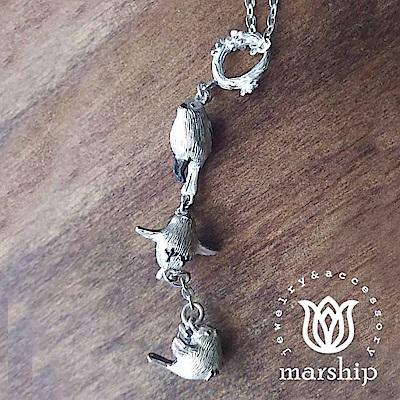 Marship 日本銀飾品牌 三墜雪精靈項鍊 三種飛翔姿態 925純銀 銀喉雀鳥亮銀款