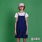 gozo 文青意想素色二件式洋裝(深藍)