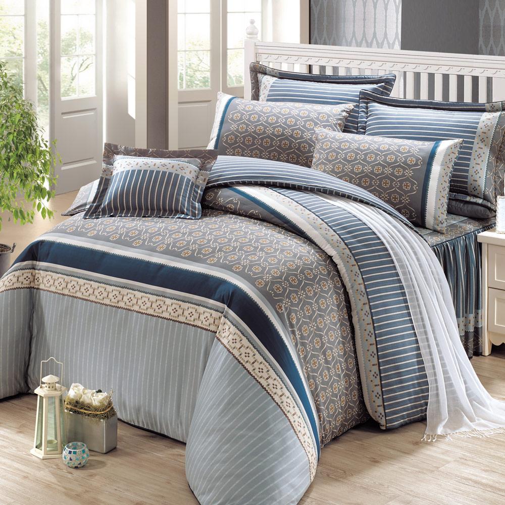 鴻宇HongYew 雙人七件式兩用被床罩組 美國PIMA棉 400織-雅典娜 藍