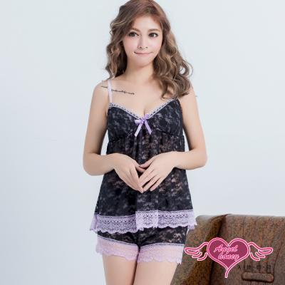 性感睡衣 夢幻飄仙 蕾絲層次二件式睡衣(黑紫F) AngelHoney天使霓裳
