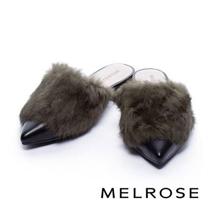 拖鞋 MELROSE 雍容兔毛造型奢華點綴粗跟拖鞋-綠