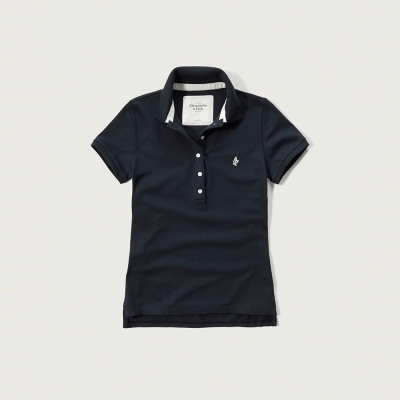 A&F 經典文字設計短袖Polo衫(女)-深藍色 AF Abercromb