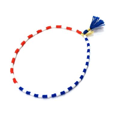 SHASHI Lily Flag 微顆粒珠珠 流蘇手鍊 海洋藍 彈性手圍