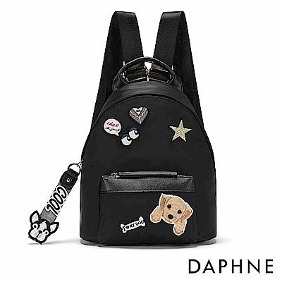 達芙妮DAPHNE-小狗徽章尼龍雙肩後背包-黑