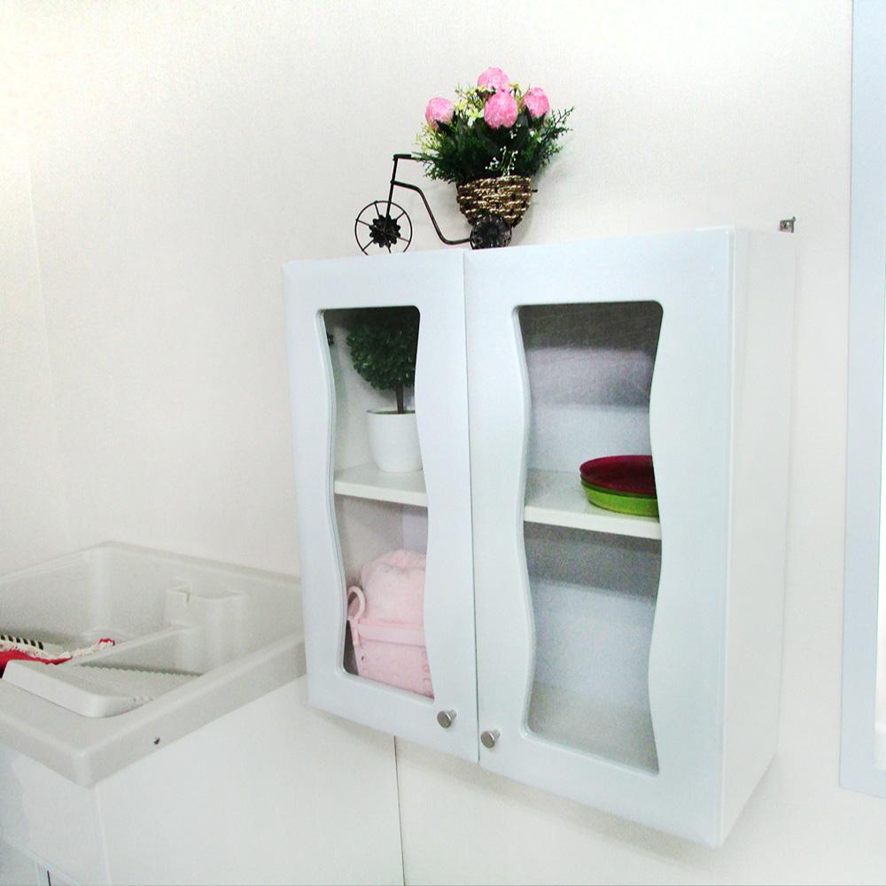 Amos波浪雙門防水塑鋼浴櫃/櫥櫃-白色(W59.5*D25*H64.5CM)