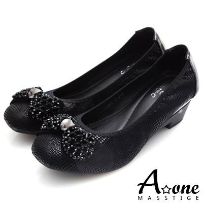 A-one-串珠蝴蝶結金屬光感絨布粗跟鞋-黑色