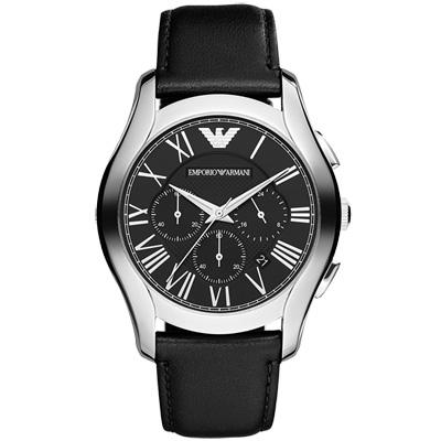 EMPORIO ARMANI 典藏雋永三眼計時腕錶-黑/44mm