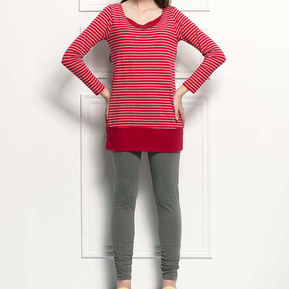 ohoh-mini美學主義條紋長版休閒哺乳套裝