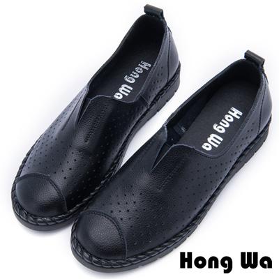 Hong Wa - 舒適透氣沖孔休閒小圓頭便鞋 - 黑