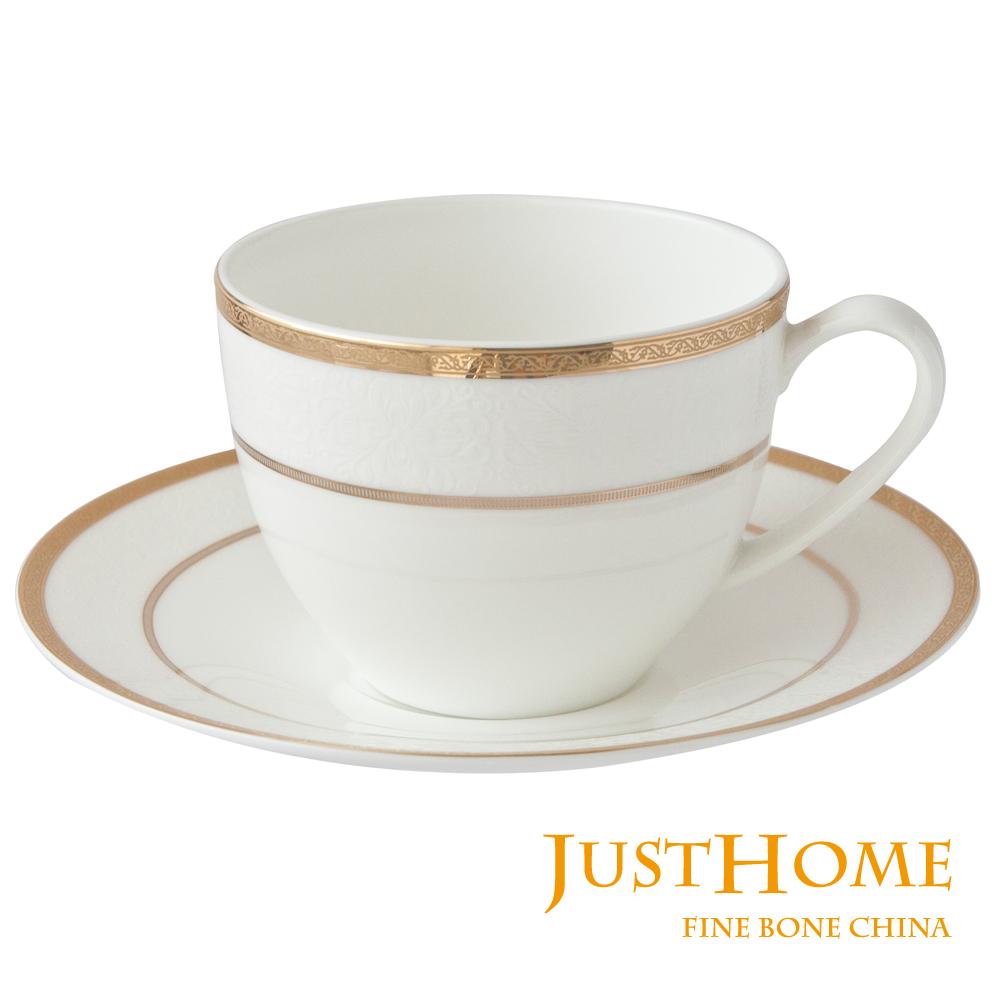 Just Home 金色禮讚高級骨瓷2入咖啡杯盤組(附禮盒)