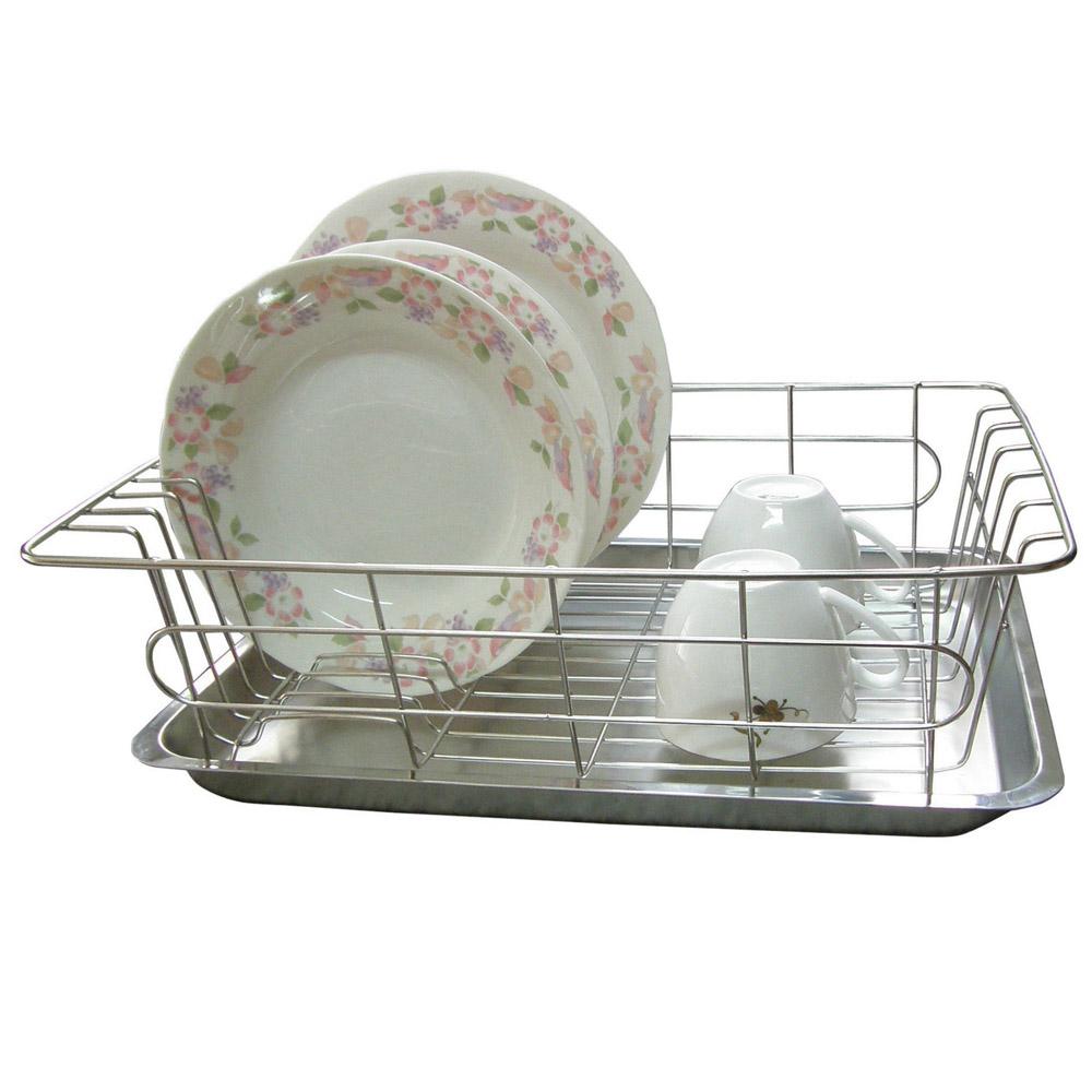 【純不鏽鋼】廚房-碗盤架/滴水架+盤子(一入裝)