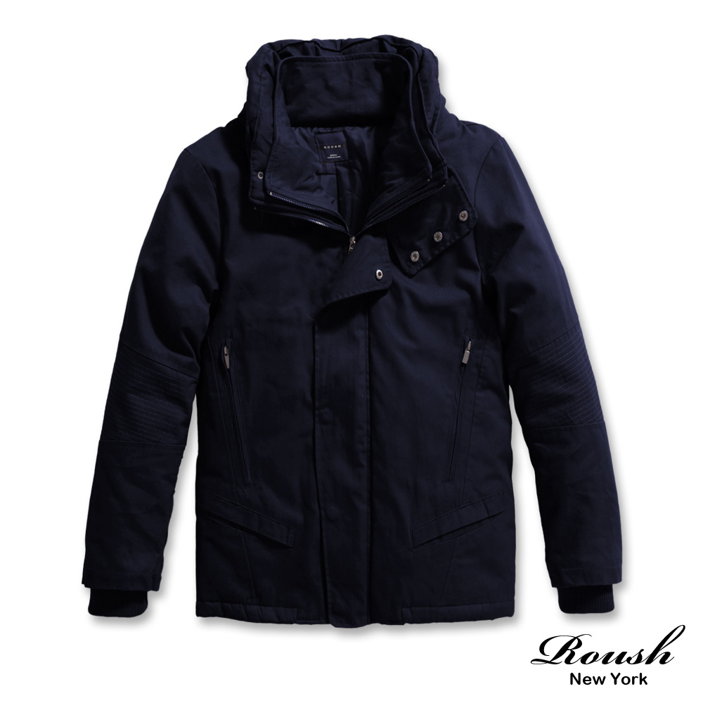 ROUSH 韓版假兩件超有型高領鋪棉短大衣 (3色)