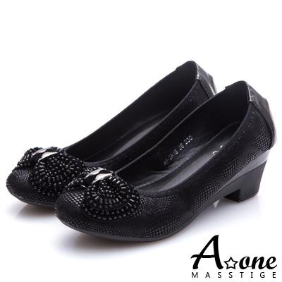 A-one-燙印麂絨布蝴蝶結圓頭粗跟鞋-黑色