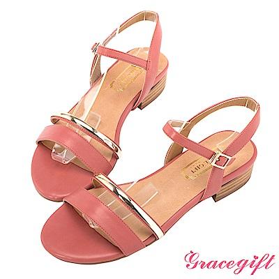 Grace gift-一字金屬細帶木紋低跟涼鞋 深粉
