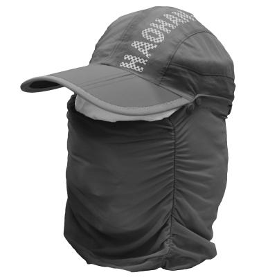 全方位防曬速乾 可拆式透氣護頸遮陽帽 (深灰) -快速到貨