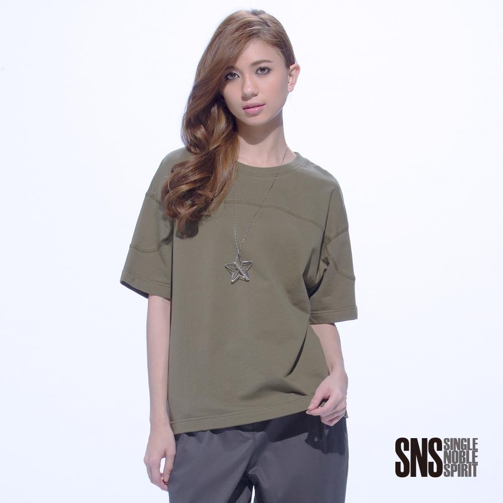 SNS 率性休閒車縫線條剪裁短袖上衣(3色)