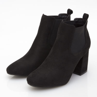 JMS-流行經典切爾西側鬆緊高跟短靴-黑色