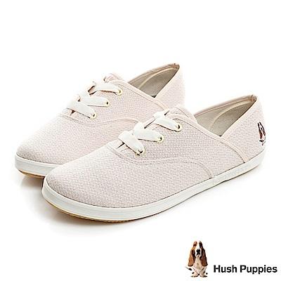 Hush Puppies COCO針織咖啡紗帆布鞋-粉紅
