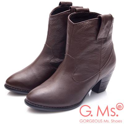 G.Ms. 素面牛皮優美楦頭後拉鍊粗跟短靴-咖啡