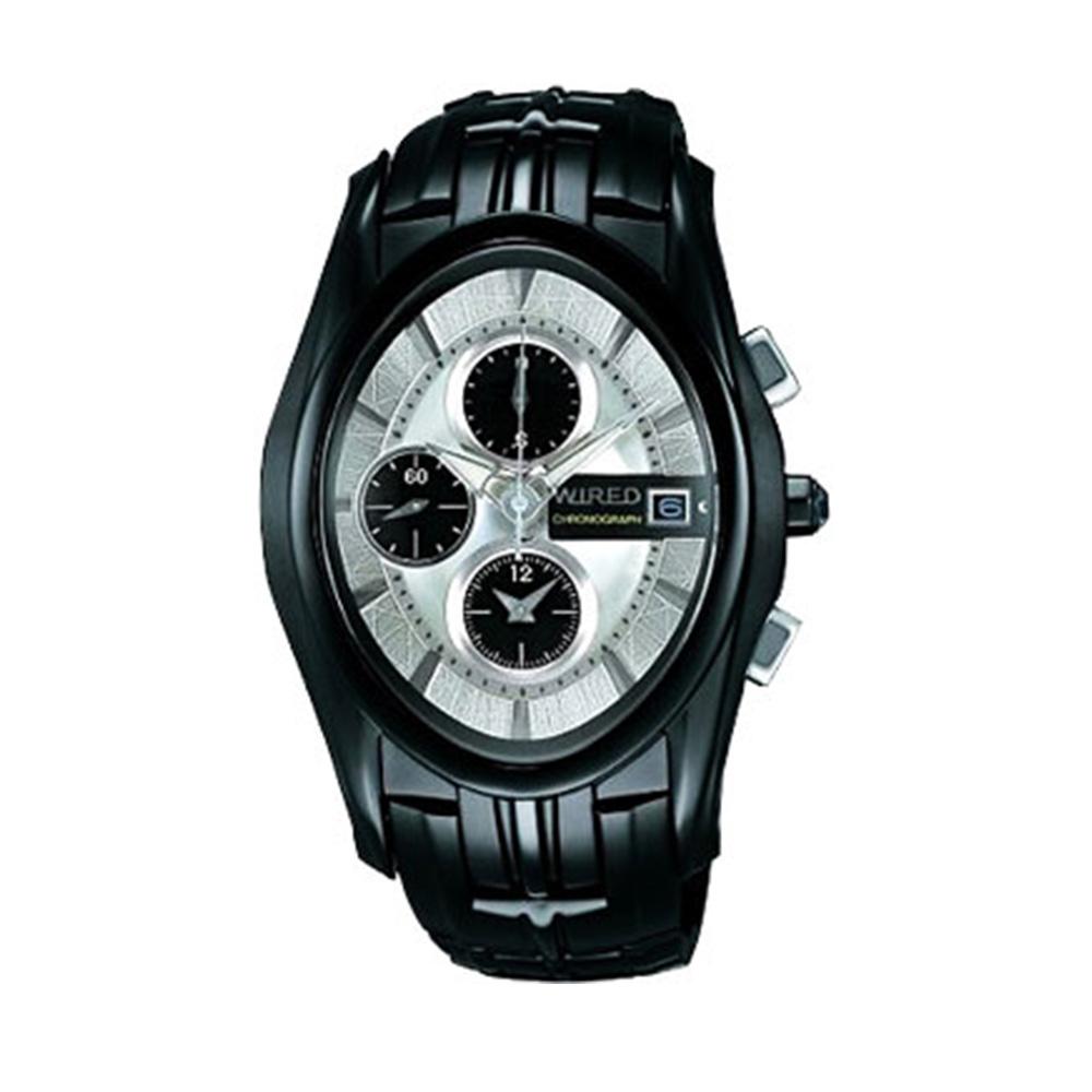 WIRED 貴族古堡勁黑三眼腕錶(7T92-X121N)-黑/38x43mm