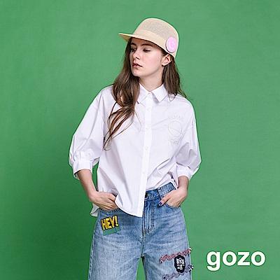 gozo 小行星刺繡細條紋落肩五分袖襯衫(二色)