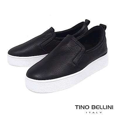 Tino Bellini 柔軟真皮舒適厚底休閒鞋_ 黑